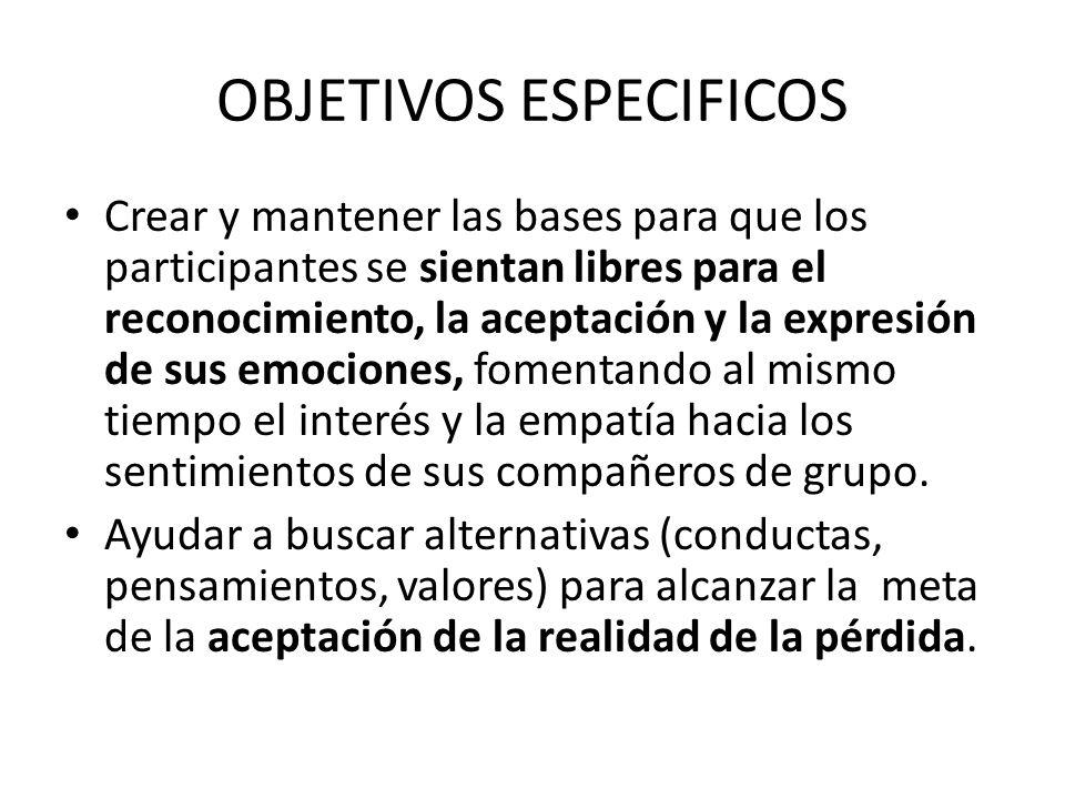 OBJETIVOS ESPECIFICOS Crear y mantener las bases para que los participantes se sientan libres para el reconocimiento, la aceptación y la expresión de