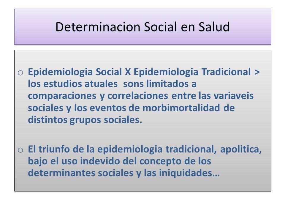 Determinacion Social en Salud o Epidemiologia Social X Epidemiologia Tradicional > los estudios atuales sons limitados a comparaciones y correlaciones