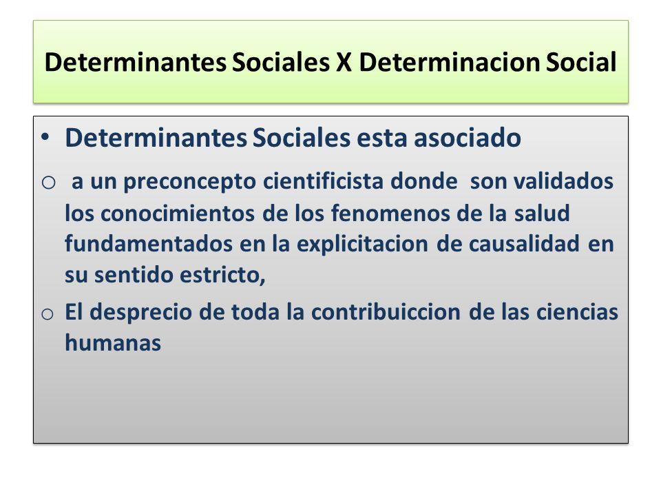 Determinantes Sociales X Determinacion Social Determinantes Sociales esta asociado o a un preconcepto cientificista donde son validados los conocimien