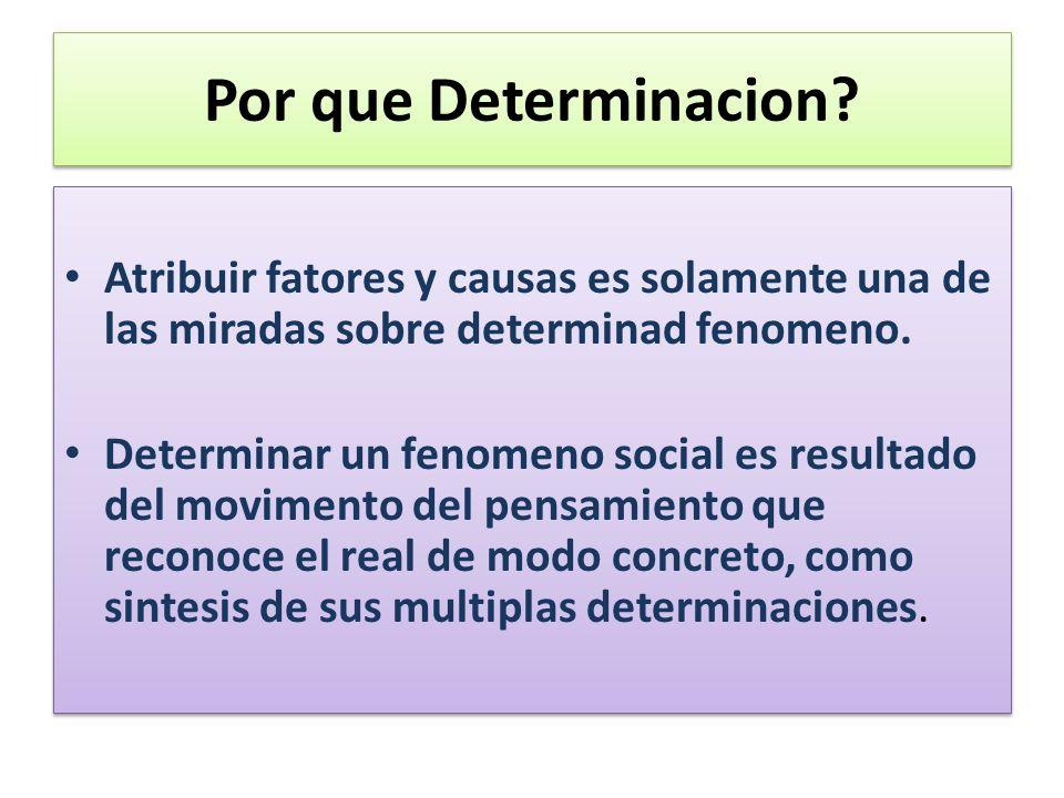 Por que Determinacion? Atribuir fatores y causas es solamente una de las miradas sobre determinad fenomeno. Determinar un fenomeno social es resultado