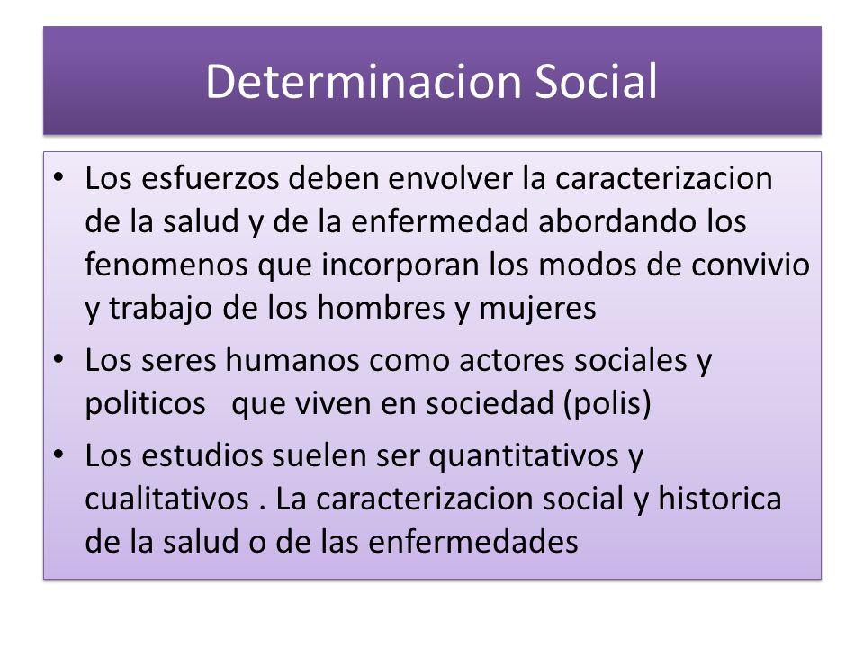 Determinacion Social Los esfuerzos deben envolver la caracterizacion de la salud y de la enfermedad abordando los fenomenos que incorporan los modos d