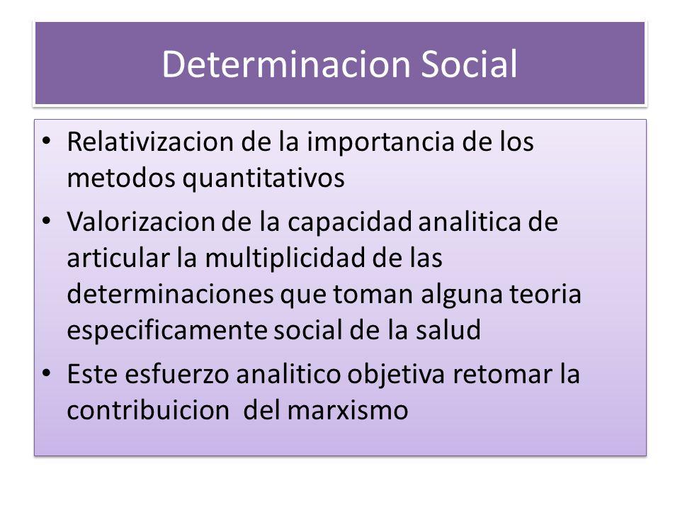 Determinacion Social Relativizacion de la importancia de los metodos quantitativos Valorizacion de la capacidad analitica de articular la multiplicida