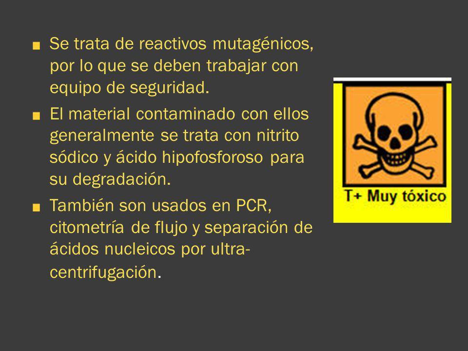 Se trata de reactivos mutagénicos, por lo que se deben trabajar con equipo de seguridad. El material contaminado con ellos generalmente se trata con n