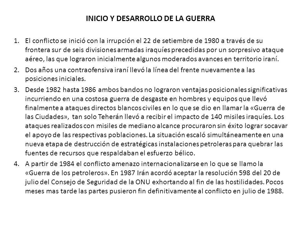 INICIO Y DESARROLLO DE LA GUERRA 1.El conflicto se inició con la irrupción el 22 de setiembre de 1980 a través de su frontera sur de seis divisiones a
