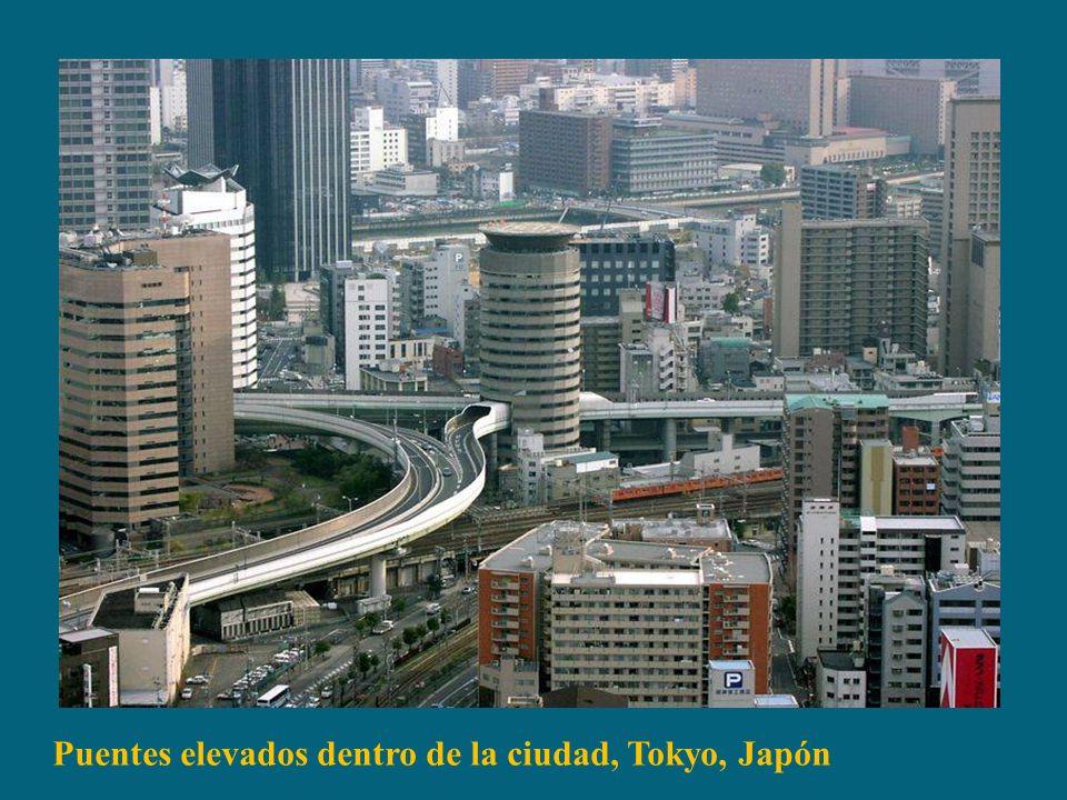 Puentes elevados dentro de la ciudad, Tokyo, Japón