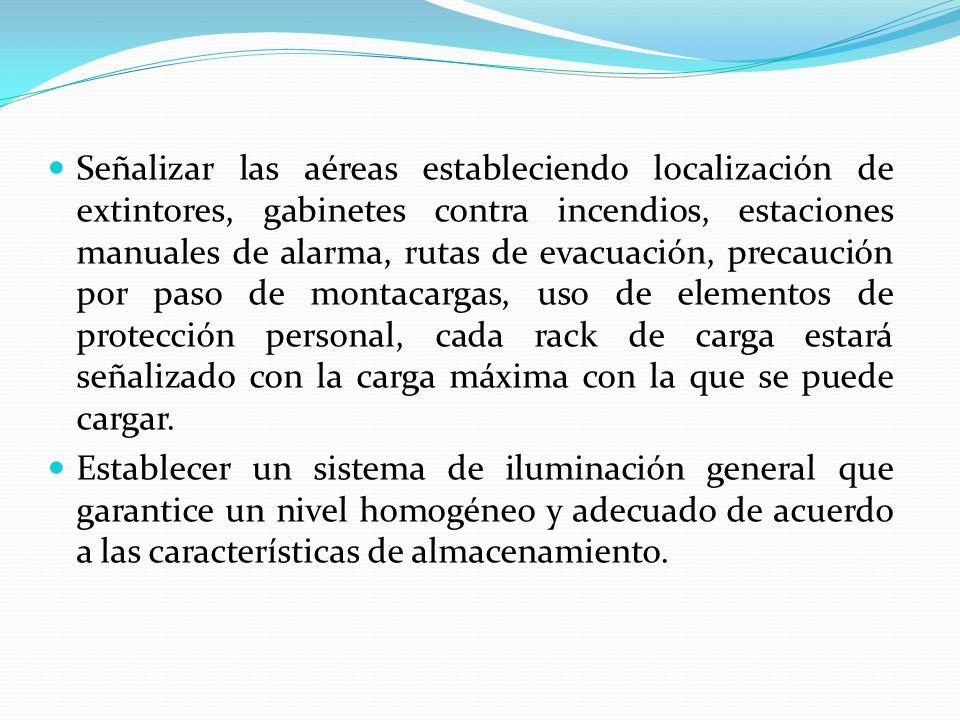 Señalizar las aéreas estableciendo localización de extintores, gabinetes contra incendios, estaciones manuales de alarma, rutas de evacuación, precauc