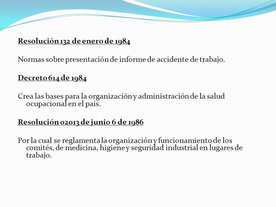 Resolución 132 de enero de 1984 Normas sobre presentación de informe de accidente de trabajo. Decreto 614 de 1984 Crea las bases para la organización