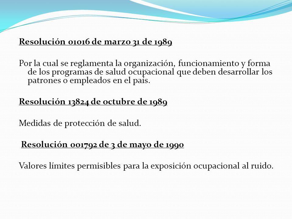 Resolución 01016 de marzo 31 de 1989 Por la cual se reglamenta la organización, funcionamiento y forma de los programas de salud ocupacional que deben