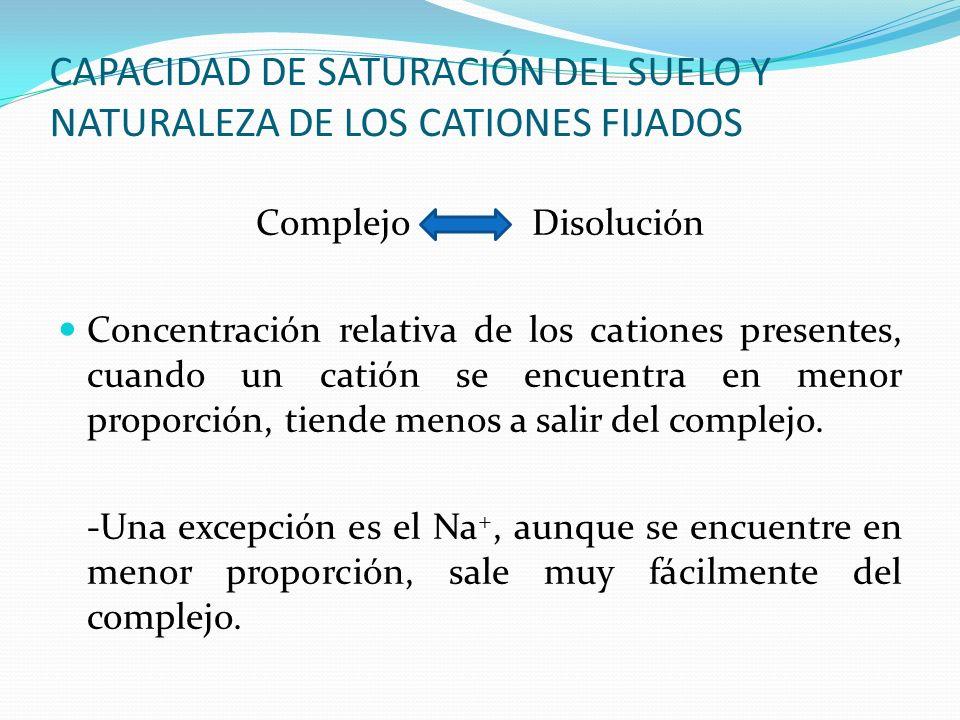 CAPACIDAD DE SATURACIÓN DEL SUELO Y NATURALEZA DE LOS CATIONES FIJADOS Complejo Disolución Concentración relativa de los cationes presentes, cuando un