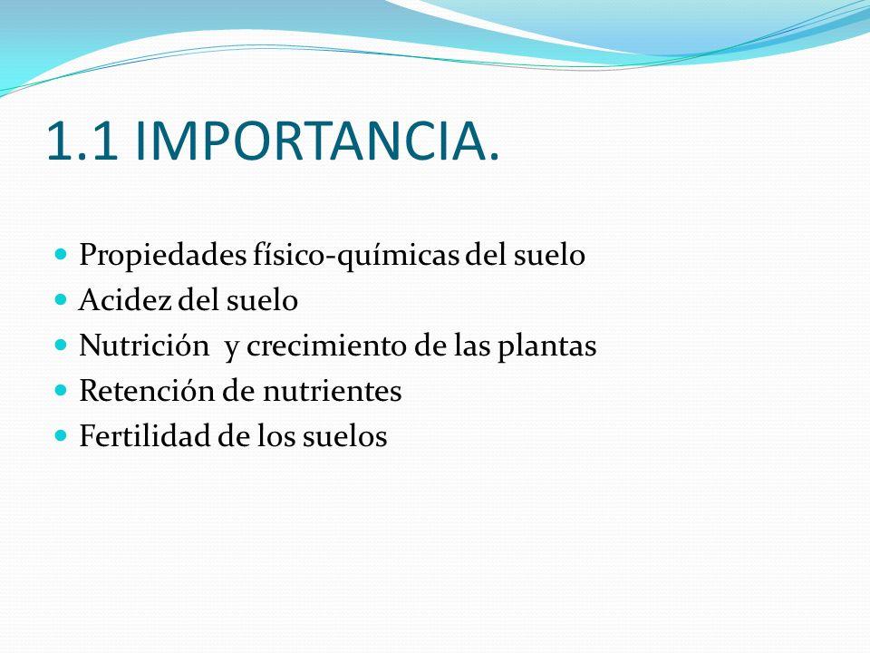 1.1 IMPORTANCIA. Propiedades físico-químicas del suelo Acidez del suelo Nutrición y crecimiento de las plantas Retención de nutrientes Fertilidad de l