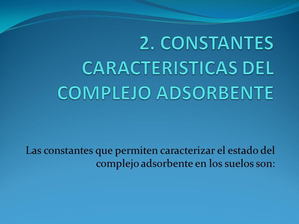 Las constantes que permiten caracterizar el estado del complejo adsorbente en los suelos son: