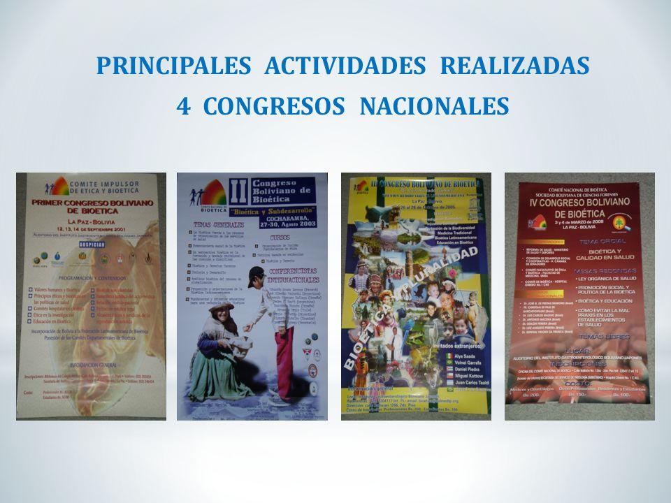PRINCIPALES ACTIVIDADES REALIZADAS 4 CONGRESOS NACIONALES