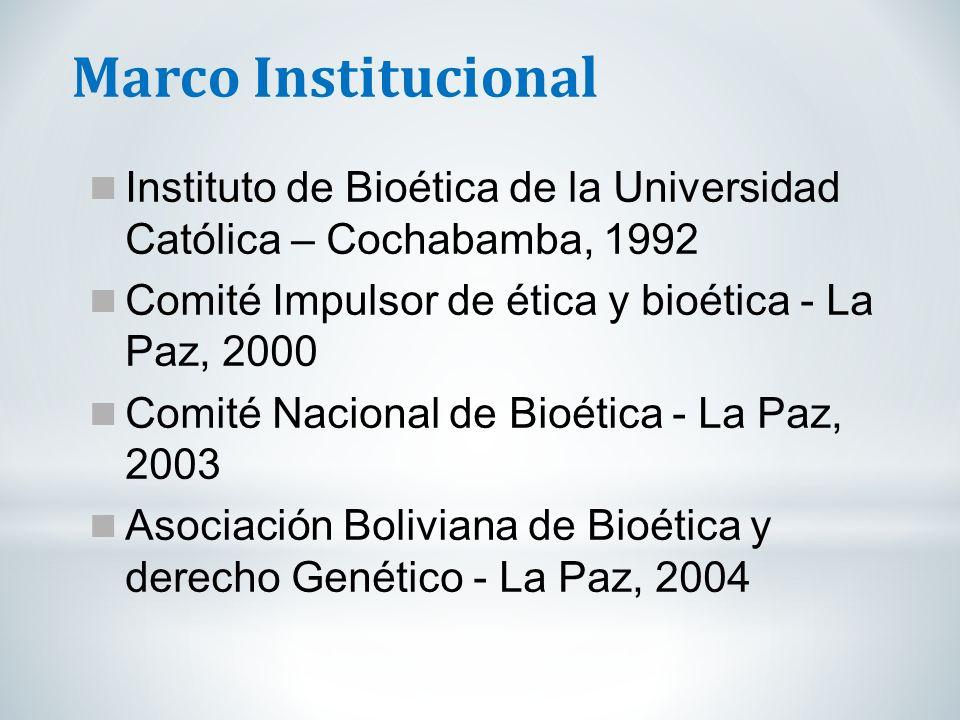 Marco Institucional Instituto de Bioética de la Universidad Católica – Cochabamba, 1992 Comité Impulsor de ética y bioética - La Paz, 2000 Comité Naci