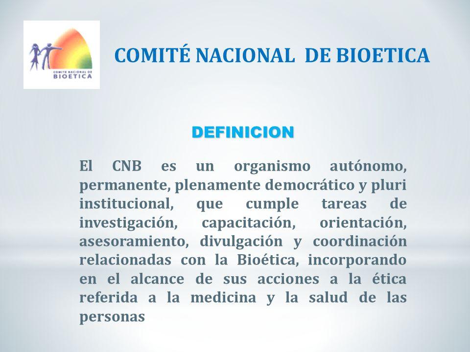 DEFINICION El CNB es un organismo autónomo, permanente, plenamente democrático y pluri institucional, que cumple tareas de investigación, capacitación