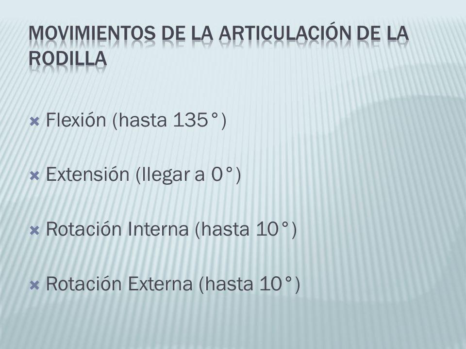 Flexión (hasta 135°) Extensión (llegar a 0°) Rotación Interna (hasta 10°) Rotación Externa (hasta 10°)