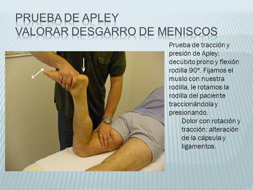 Prueba de tracción y presión de Apley: decúbito prono y flexión rodilla 90º. Fijamos el muslo con nuestra rodilla, le rotamos la rodilla del paciente