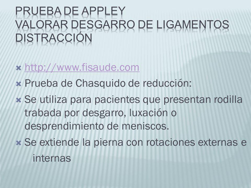 http://www.fisaude.com Prueba de Chasquido de reducción: Se utiliza para pacientes que presentan rodilla trabada por desgarro, luxación o desprendimie