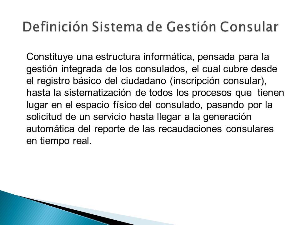 Constituye una estructura informática, pensada para la gestión integrada de los consulados, el cual cubre desde el registro básico del ciudadano (insc