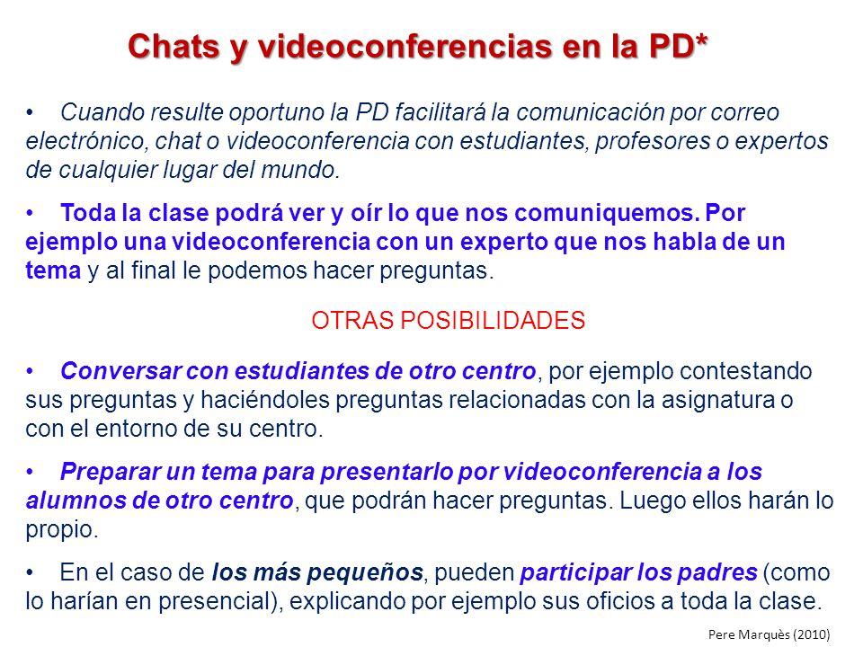 Chats y videoconferencias en la PD* Cuando resulte oportuno la PD facilitará la comunicación por correo electrónico, chat o videoconferencia con estud