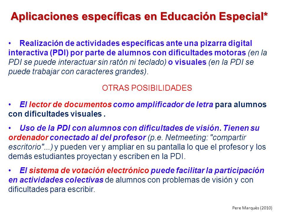 Aplicaciones específicas en Educación Especial* Realización de actividades específicas ante una pizarra digital interactiva (PDI) por parte de alumnos