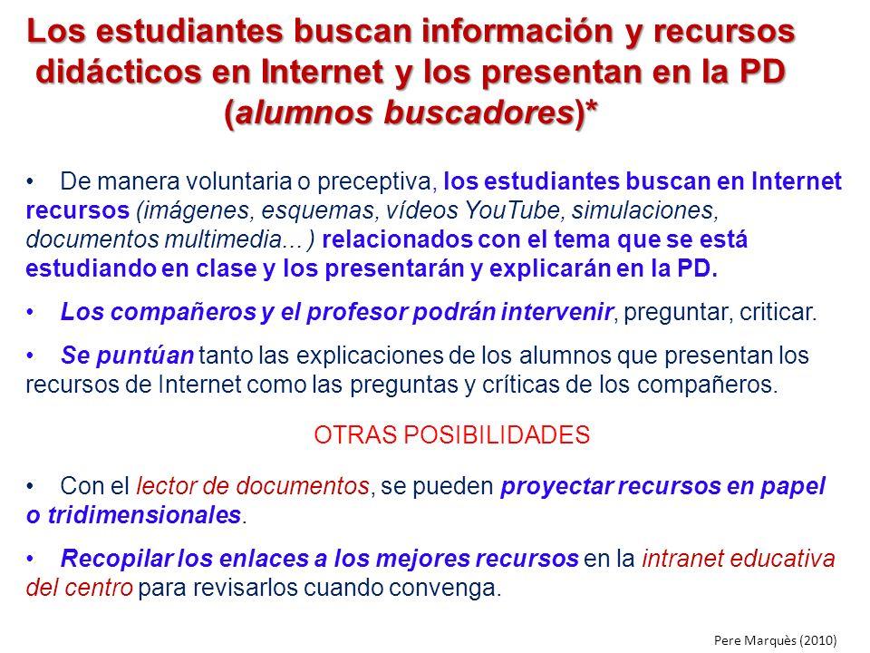 Los estudiantes buscan información y recursos didácticos en Internet y los presentan en la PD (alumnos buscadores)* De manera voluntaria o preceptiva,