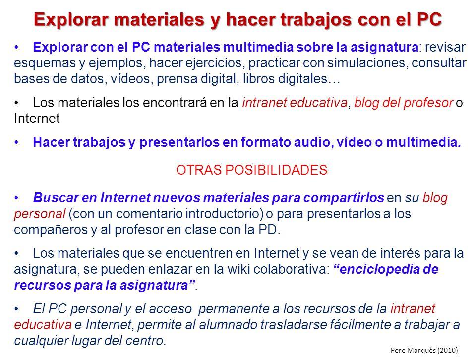 Explorar materiales y hacer trabajos con el PC Explorar con el PC materiales multimedia sobre la asignatura: revisar esquemas y ejemplos, hacer ejerci