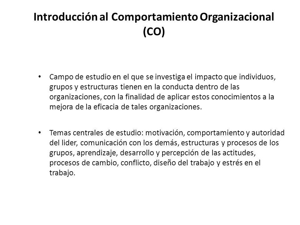 Introducción al Comportamiento Organizacional (CO) Campo de estudio en el que se investiga el impacto que individuos, grupos y estructuras tienen en l