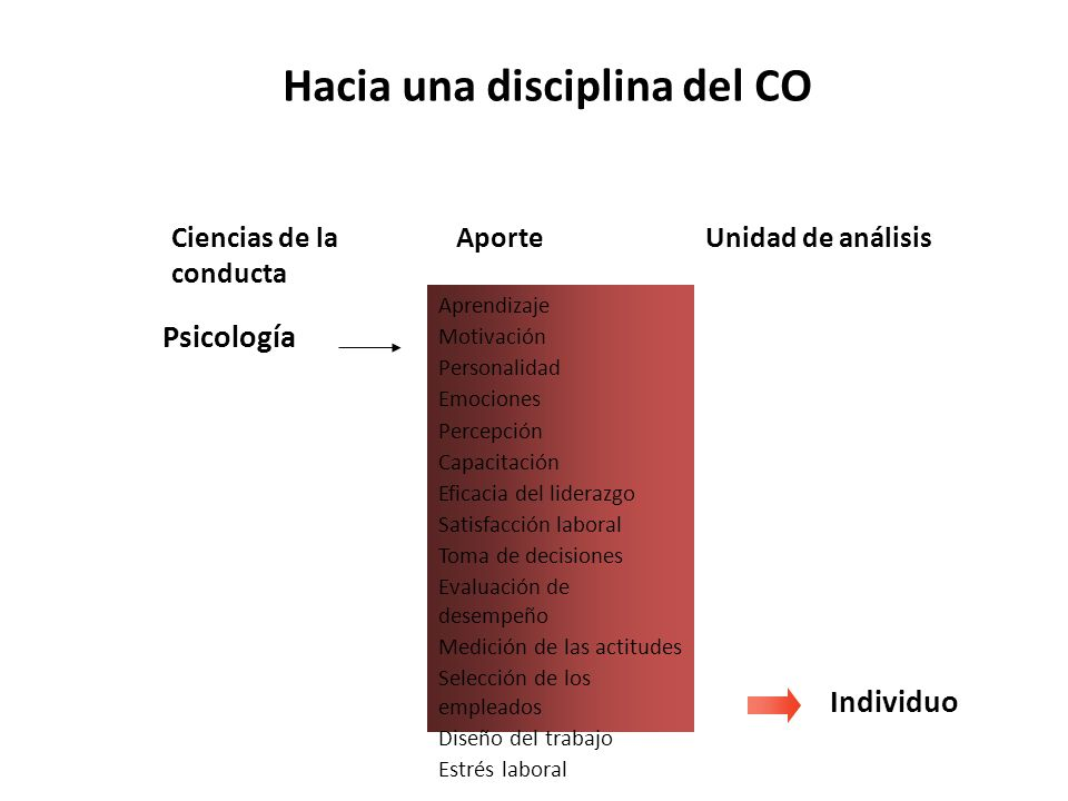Hacia una disciplina del CO Aprendizaje Motivación Personalidad Emociones Percepción Capacitación Eficacia del liderazgo Satisfacción laboral Toma de