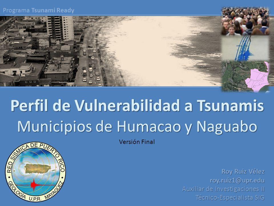 Perfil de Vulnerabilidad a Tsunamis Municipios de Humacao y Naguabo Roy Ruiz Vélez roy.ruiz1@upr.edu Auxiliar de Investigaciones II Técnico-Especialis