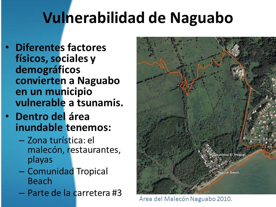 Vulnerabilidad de Naguabo Diferentes factores físicos, sociales y demográficos convierten a Naguabo en un municipio vulnerable a tsunamis. Dentro del