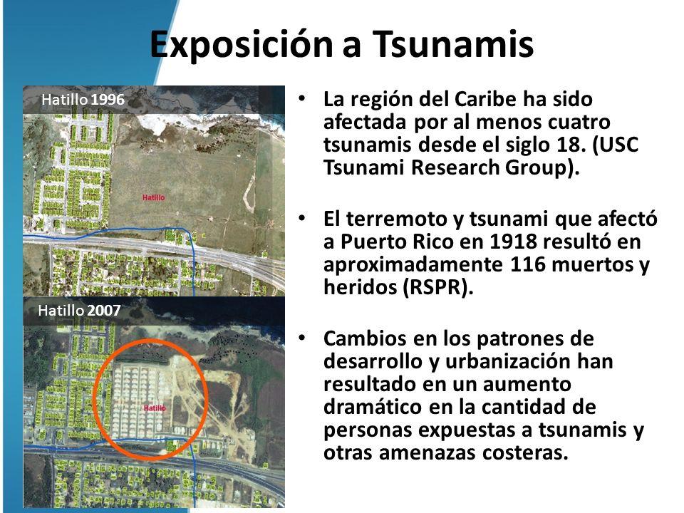 Exposición a Tsunamis La región del Caribe ha sido afectada por al menos cuatro tsunamis desde el siglo 18. (USC Tsunami Research Group). El terremoto