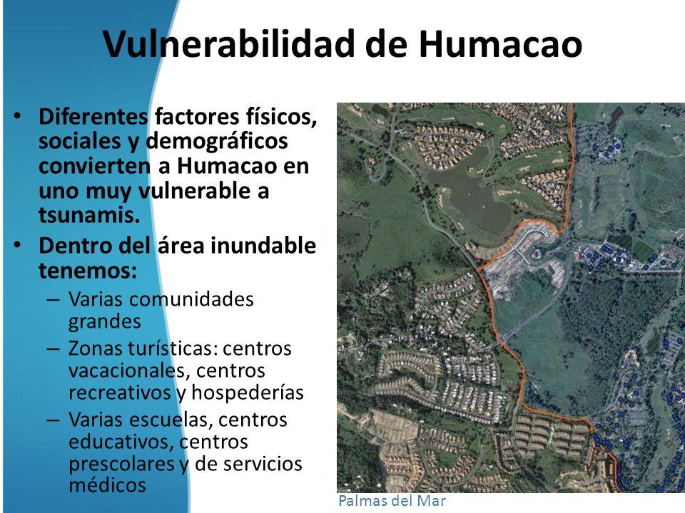 Vulnerabilidad de Humacao Diferentes factores físicos, sociales y demográficos convierten a Humacao en uno muy vulnerable a tsunamis. Dentro del área