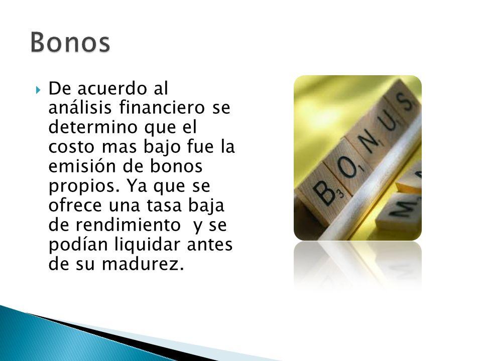 De acuerdo al análisis financiero se determino que el costo mas bajo fue la emisión de bonos propios. Ya que se ofrece una tasa baja de rendimiento y