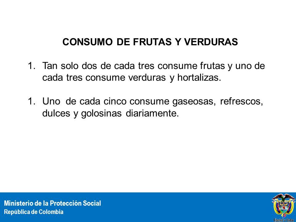 Ministerio de la Protección Social República de Colombia CONSUMO DE FRUTAS Y VERDURAS 1.Tan solo dos de cada tres consume frutas y uno de cada tres co