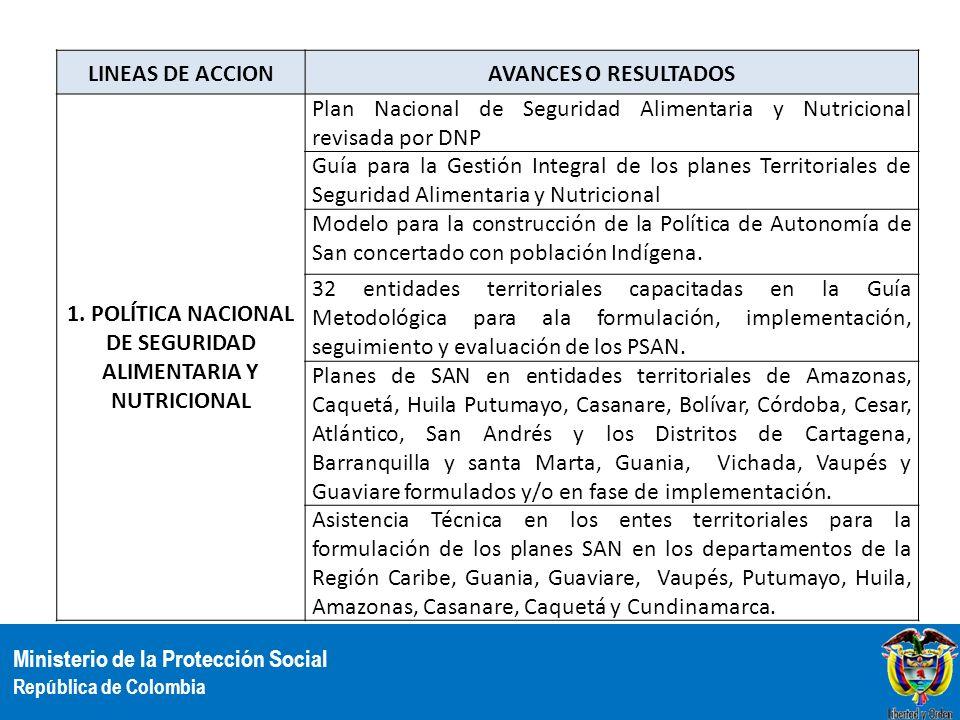 Ministerio de la Protección Social República de Colombia LINEAS DE ACCIONAVANCES O RESULTADOS 1. POLÍTICA NACIONAL DE SEGURIDAD ALIMENTARIA Y NUTRICIO