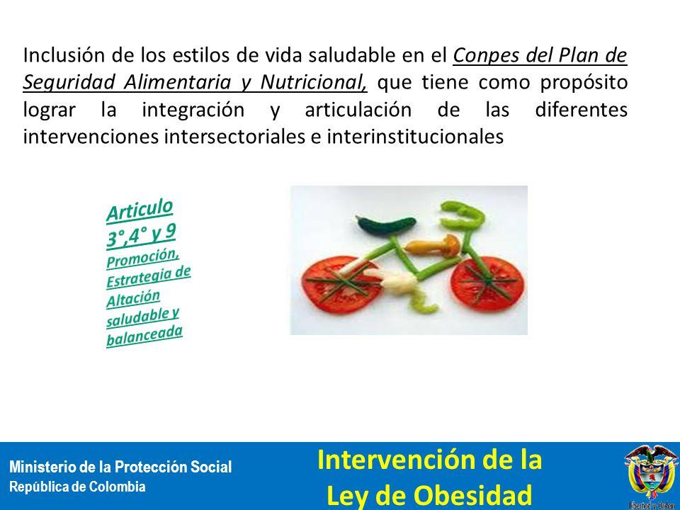 Ministerio de la Protección Social República de Colombia Inclusión de los estilos de vida saludable en el Conpes del Plan de Seguridad Alimentaria y N