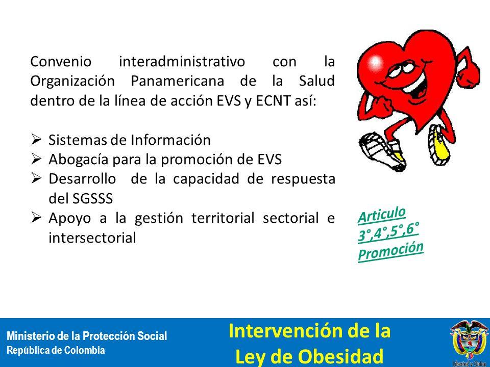 Ministerio de la Protección Social República de Colombia Convenio interadministrativo con la Organización Panamericana de la Salud dentro de la línea