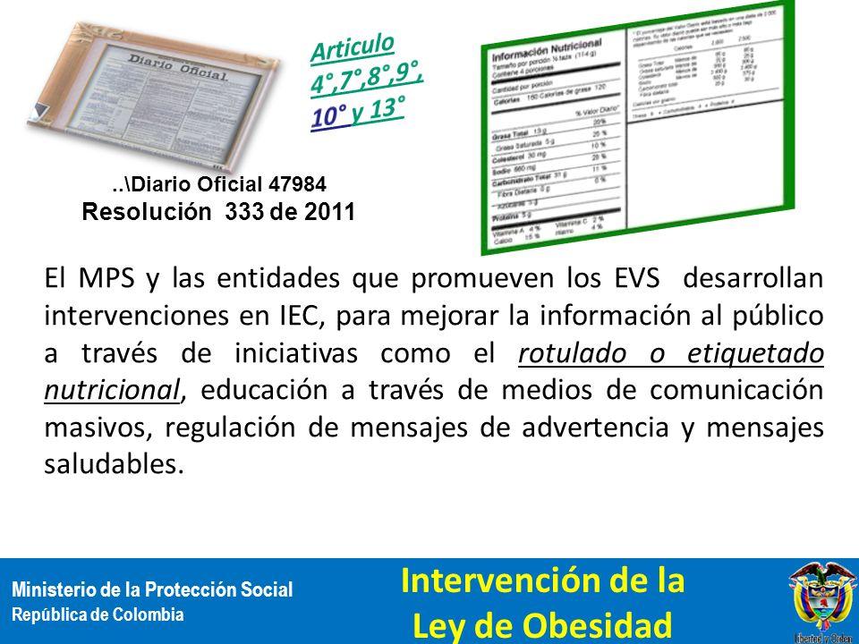 Ministerio de la Protección Social República de Colombia El MPS y las entidades que promueven los EVS desarrollan intervenciones en IEC, para mejorar