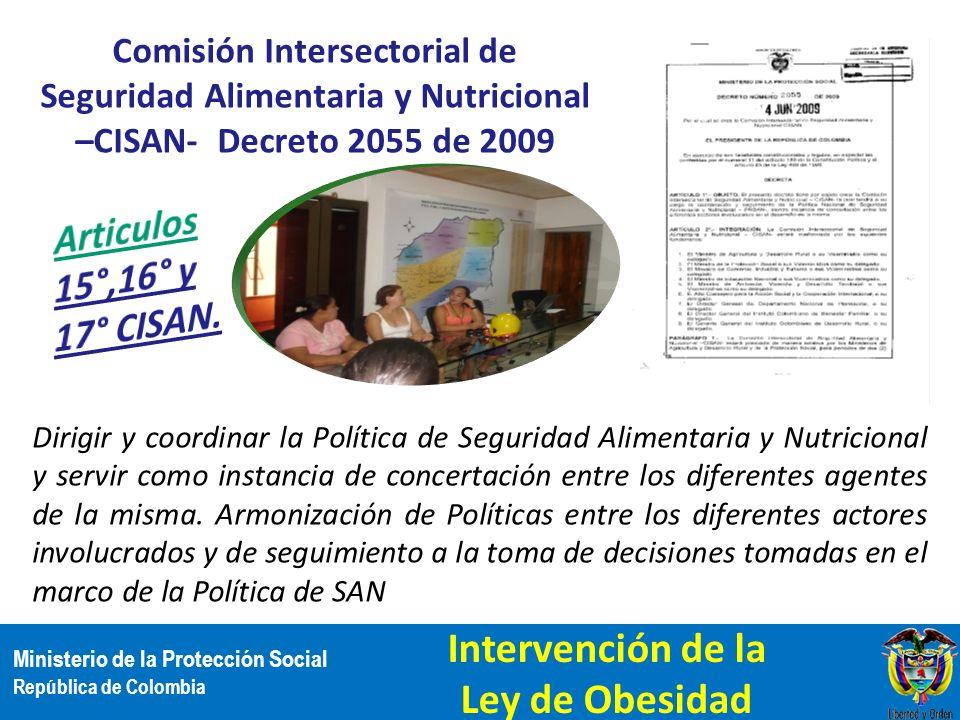 Ministerio de la Protección Social República de Colombia Comisión Intersectorial de Seguridad Alimentaria y Nutricional –CISAN- Decreto 2055 de 2009 D
