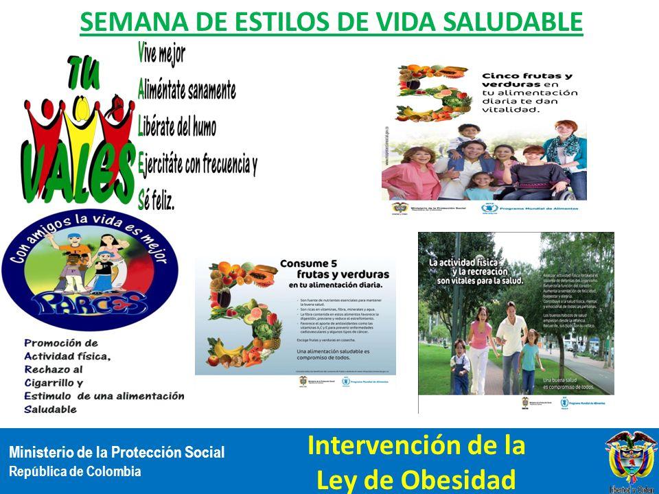 Ministerio de la Protección Social República de Colombia SEMANA DE ESTILOS DE VIDA SALUDABLE Intervención de la Ley de Obesidad