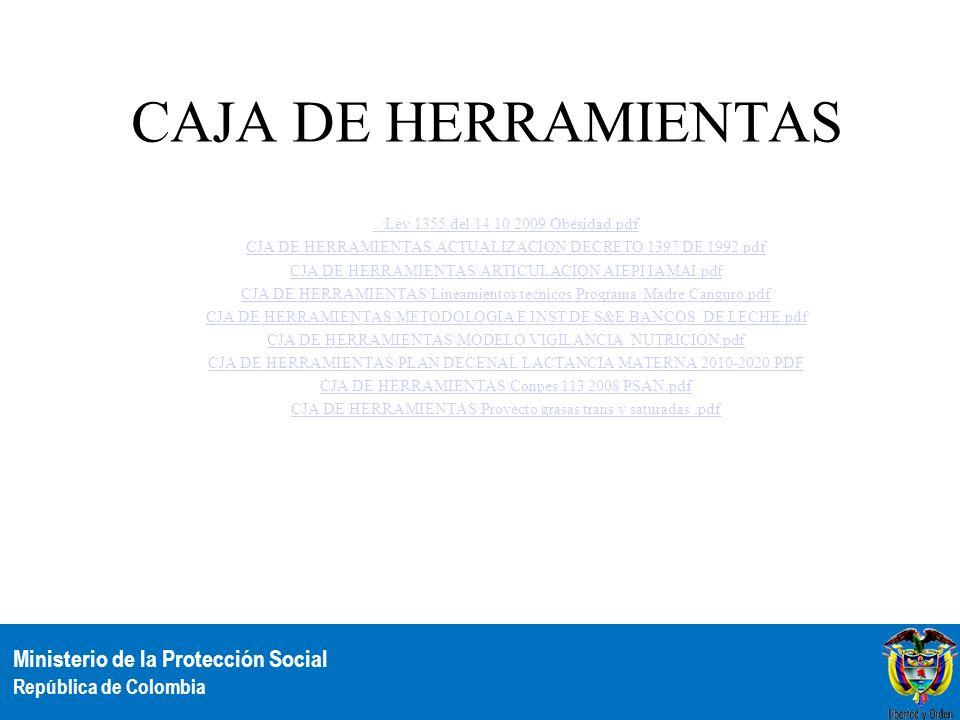 Ministerio de la Protección Social República de Colombia CAJA DE HERRAMIENTAS..\Ley 1355 del 14 10 2009 Obesidad.pdf CJA DE HERRAMIENTAS\ACTUALIZACION
