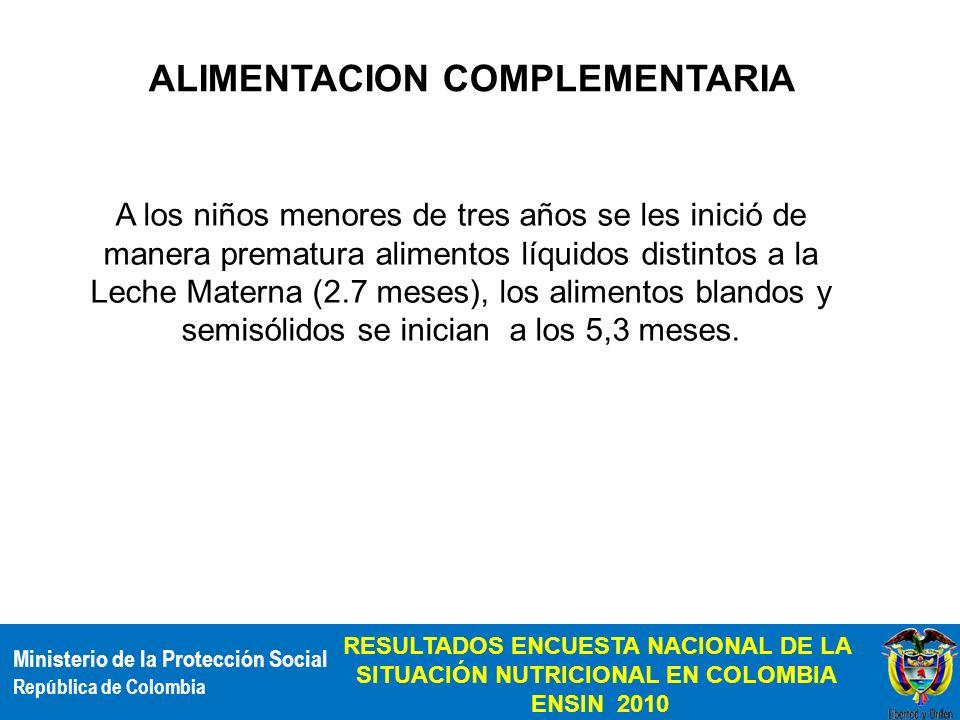 Ministerio de la Protección Social República de Colombia RESULTADOS ENCUESTA NACIONAL DE LA SITUACIÓN NUTRICIONAL EN COLOMBIA ENSIN 2010 ALIMENTACION