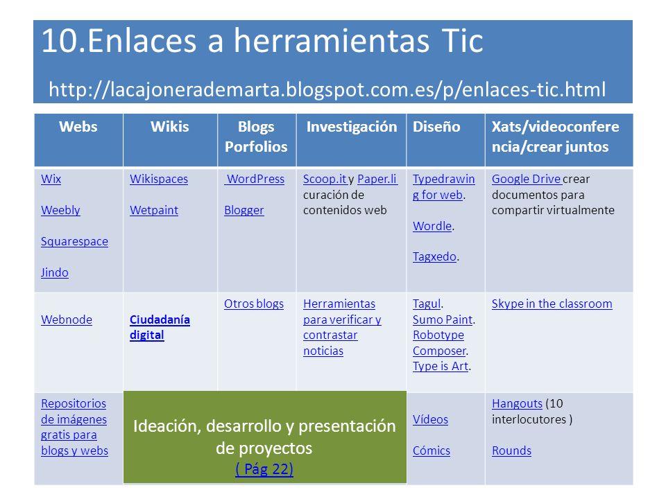 10.Enlaces a herramientas Tic http://lacajonerademarta.blogspot.com.es/p/enlaces-tic.html WebsWikisBlogs Porfolios InvestigaciónDiseñoXats/videoconfer