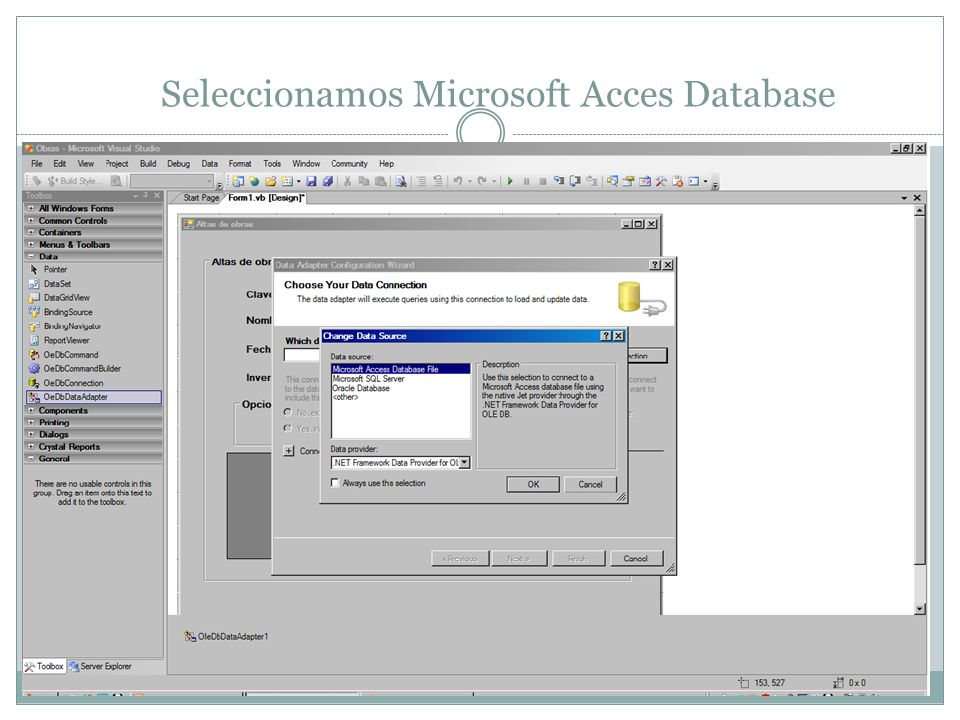 Seleccionamos Microsoft Acces Database