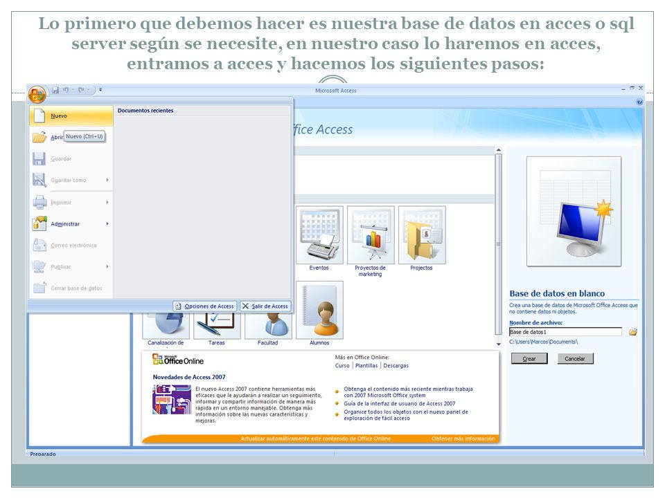 Lo primero que debemos hacer es nuestra base de datos en acces o sql server según se necesite, en nuestro caso lo haremos en acces, entramos a acces y