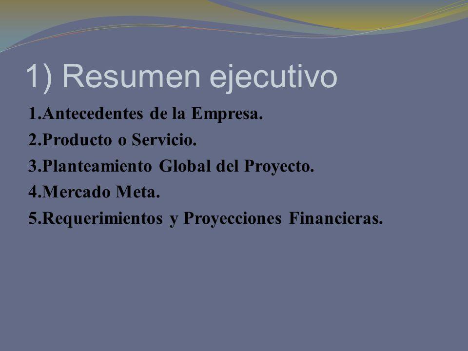 1) Resumen ejecutivo 1.Antecedentes de la Empresa. 2.Producto o Servicio. 3.Planteamiento Global del Proyecto. 4.Mercado Meta. 5.Requerimientos y Proy