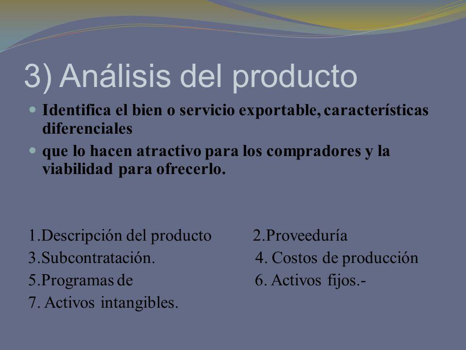 3) Análisis del producto Identifica el bien o servicio exportable, características diferenciales que lo hacen atractivo para los compradores y la viab
