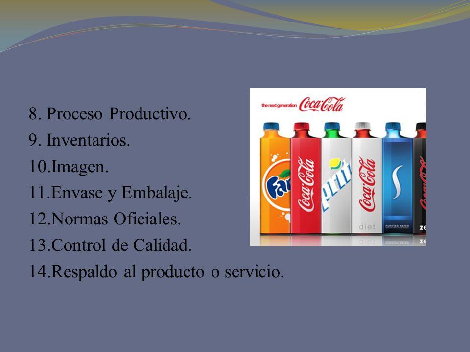 8. Proceso Productivo. 9. Inventarios. 10.Imagen. 11.Envase y Embalaje. 12.Normas Oficiales. 13.Control de Calidad. 14.Respaldo al producto o servicio