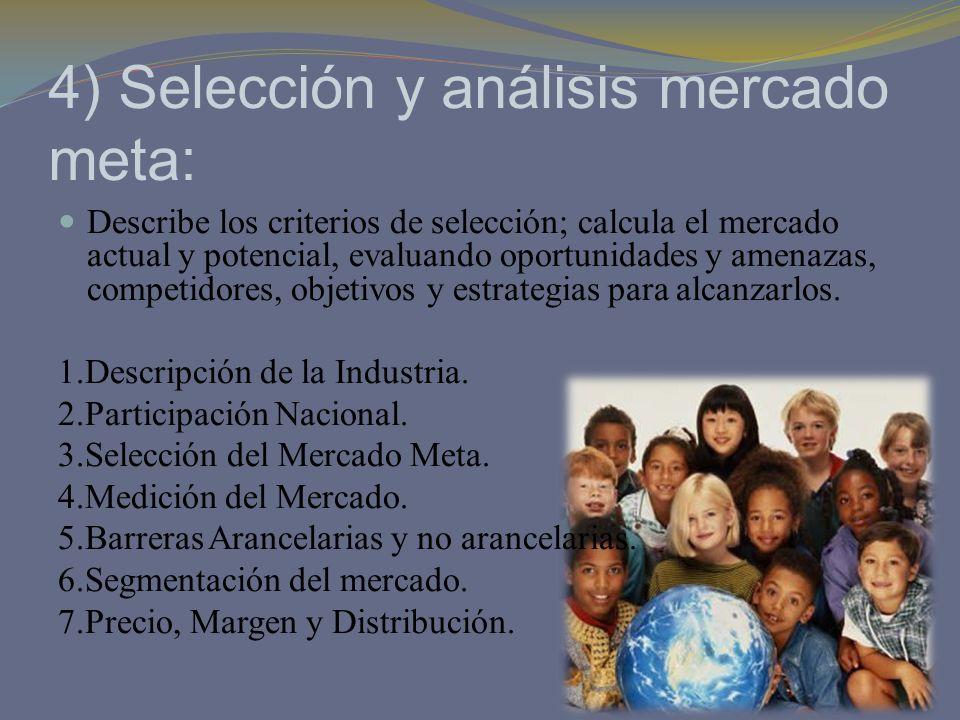 4) Selección y análisis mercado meta: Describe los criterios de selección; calcula el mercado actual y potencial, evaluando oportunidades y amenazas,