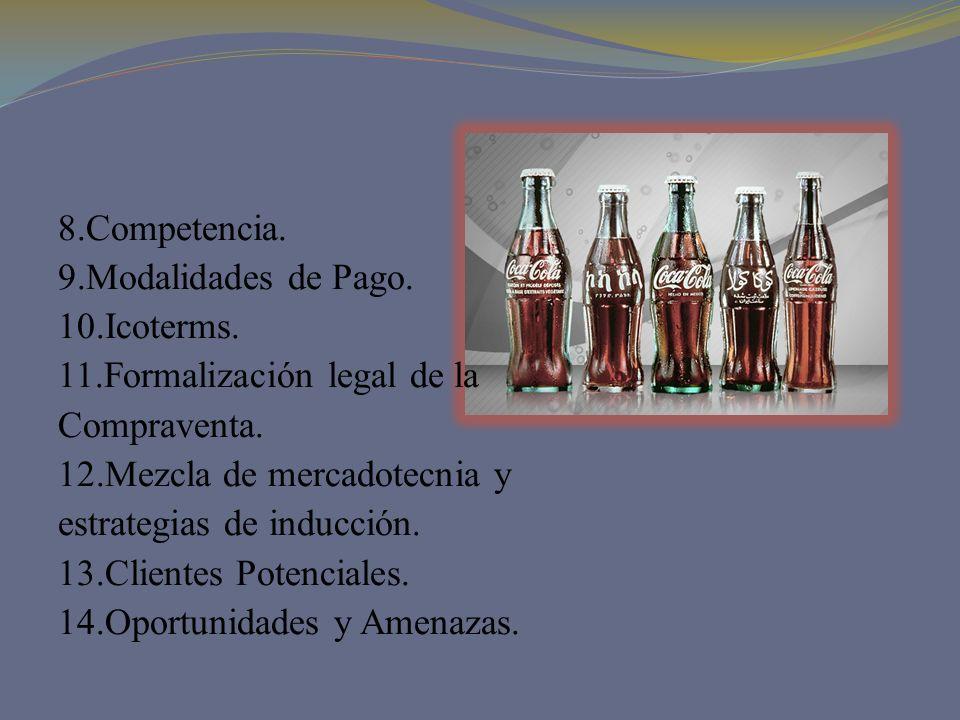 8.Competencia. 9.Modalidades de Pago. 10.Icoterms. 11.Formalización legal de la Compraventa. 12.Mezcla de mercadotecnia y estrategias de inducción. 13